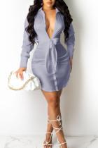 Blue Purple Sexy Solid Bandage Split Joint Turndown Collar Shirt Dress Dresses