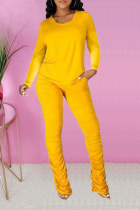 Yellow Casual Solid Fold O Neck Long Sleeve Two Pieces