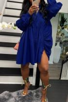 Royal Blue Street Solid Split Joint Buckle Fold Turndown Collar Shirt Dress Dresses