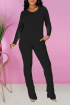 Black Casual Solid Fold O Neck Long Sleeve Two Pieces