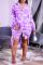 Purple Casual Print Split Joint Turndown Collar Shirt Dress Dresses
