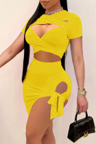 Yellow Sexy Solid Hollowed Out Asymmetrical With Bow O Neck Short Sleeve Two Pieces