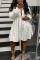 White Street Solid Split Joint Buckle Fold Turndown Collar Shirt Dress Dresses