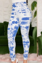 Blue Casual Print Tie Dye Split Joint Skinny High Waist Pencil Full Print Bottoms
