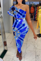 Royal Blue Sexy Patchwork Tie-dye One Shoulder Long Sleeve Two Pieces