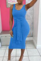 Blue Casual Striped Print Bandage Split Joint U Neck Vest Dress Dresses
