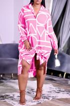 Pink Casual Print Split Joint Turndown Collar Shirt Dress Dresses