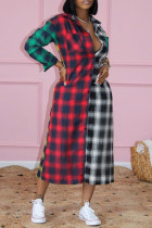 Multi-color Plaid Print Split Joint Turndown Collar Shirt Dress Dresses