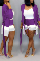 purple Street Print Straight Long Sleeve Two Piece Suits