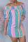 Orange Casual Striped Split Joint Off the Shoulder Straight Dresses