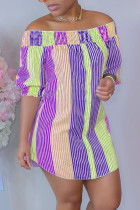 Purple Casual Striped Split Joint Off the Shoulder Straight Dresses