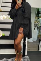 Black Street Solid Split Joint Buckle Fold Turndown Collar Shirt Dress Dresses