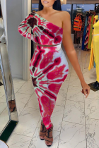Red Sexy Patchwork Tie-dye One Shoulder Long Sleeve Two Pieces