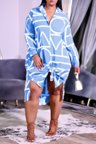 Baby Blue Casual Print Split Joint Turndown Collar Shirt Dress Dresses
