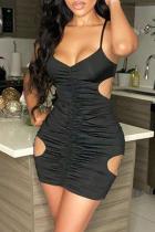 Black Sexy Bandage Spaghetti Strap Pencil Skirt Dresses