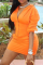 Orange Casual Solid Split Joint V Neck Three Quarter Two Pieces
