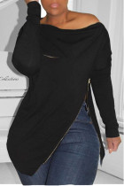 Black Casual Solid Split Joint Asymmetrical Zipper Zipper Collar Tops