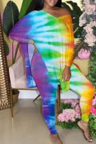Multi-color Casual Gradual Change Print Slit V Neck Long Sleeve Two Pieces
