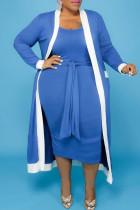 Blue Casual Solid Bandage Split Joint U Neck Vest Dress Plus Size Two Pieces