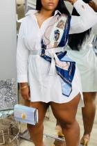 White Casual Solid Split Joint Asymmetrical Turndown Collar Shirt Dress Dresses