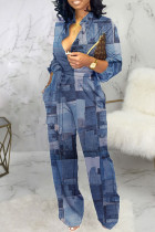 Dark Blue Casual Color Lump Print Bandage Split Joint Buckle Mandarin Collar Straight Jumpsuits