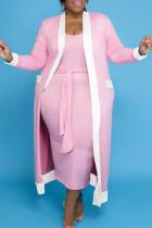 Pink Casual Solid Bandage Split Joint U Neck Vest Dress Plus Size Two Pieces
