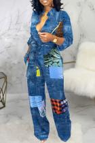 Blue Casual Color Lump Print Bandage Split Joint Buckle Mandarin Collar Straight Jumpsuits