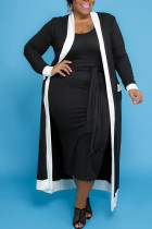 Black Casual Solid Bandage Split Joint U Neck Vest Dress Plus Size Two Pieces