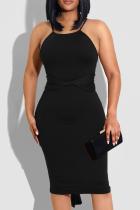 Black Casual Solid Split Joint Spaghetti Strap Pencil Skirt Dresses