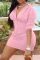Pink Casual Solid Split Joint V Neck Three Quarter Two Pieces