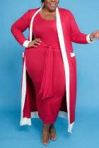 Red Casual Solid Bandage Split Joint U Neck Vest Dress Plus Size Two Pieces