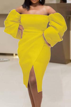 Yellow Elegant Solid Split Joint Asymmetrical Strapless Irregular Dress Dresses