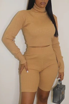 Khaki Casual Solid Split Joint Turtleneck Nine Points Sleeve Two Pieces