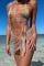 Orange Sexy Print Hollowed Out Split Joint Swimwears