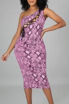 Rose Purple Sexy Print Bandage Hollowed Out Split Joint Oblique Collar Pencil Skirt Dresses
