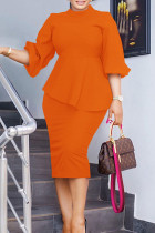 Tangerine Work Solid Split Joint Asymmetrical O Neck Three Quarter Two Pieces