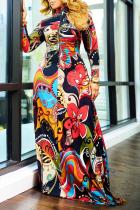Red Sexy Print Split Joint Turtleneck Irregular Dress Dresses