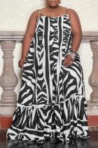 Black Casual Print Split Joint Spaghetti Strap Cake Skirt Plus Size Dresses