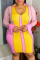 Pink Yellow Sexy Solid Split Joint O Neck Pencil Skirt Plus Size Dresses
