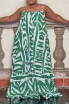 Green Casual Print Split Joint Spaghetti Strap Cake Skirt Plus Size Dresses