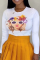 White Casual Print Split Joint O Neck Tops