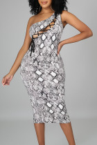 Grey Sexy Print Bandage Hollowed Out Split Joint Oblique Collar Pencil Skirt Dresses