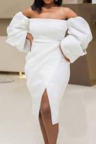 White Elegant Solid Split Joint Asymmetrical Strapless Irregular Dress Dresses