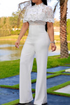 White Fashion Sexy Lace Short Sleeve Jumpsuit