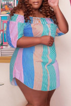 Pink Green Casual Cute Striped Print Off the Shoulder Straight Plus Size Dresses