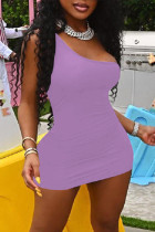 Purple Fashion Sexy Solid Backless One Shoulder Sleeveless Dress