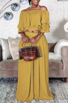 Yellow Fashion Casual Solid Split Joint Off the Shoulder Half Sleeve Two Pieces