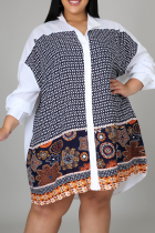 White Casual Print Split Joint Mandarin Collar Shirt Dress Plus Size Tops