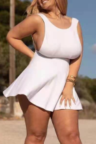 White Sexy Solid Split Joint O Neck Cake Skirt Plus Size Dresses