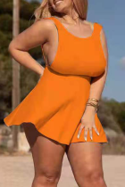 Tangerine Red Sexy Solid Split Joint O Neck Cake Skirt Plus Size Dresses